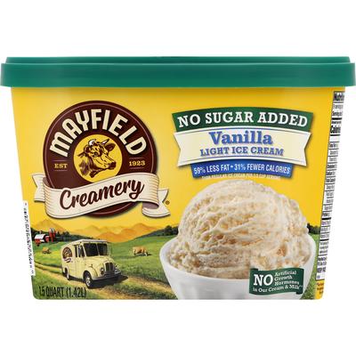 Mayfield Creamery Ice Cream, Light, No Sugar Added, Vanilla