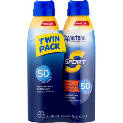 Coppertone Sport Sunscreen Spray SPF 50, Twin Pack