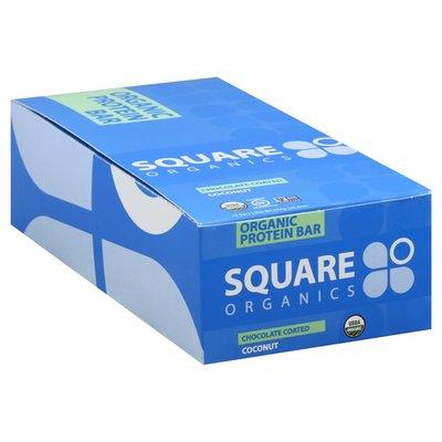 Square Organics Protein Bar, Organic, Coconut, Chocolate Coated