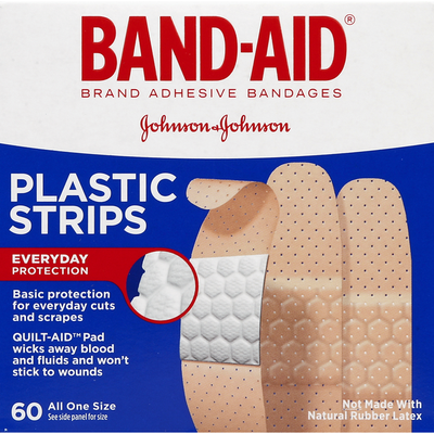 Band-Aid Brand Tru-Stay Plastic Strips Adhesive Bandages, All One Size