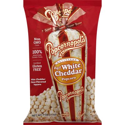 Popcornopolis Popcorn, Aged White Cheddar
