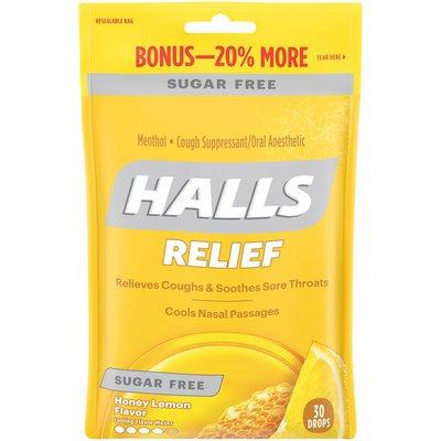 Halls Honey Lemon Sugar Free Cough Drops