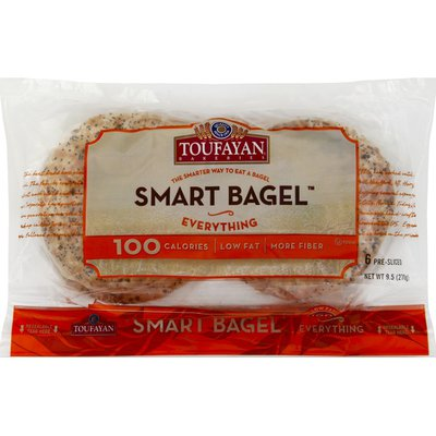 Toufayan Smart Bagel, Pre-Sliced, Everything