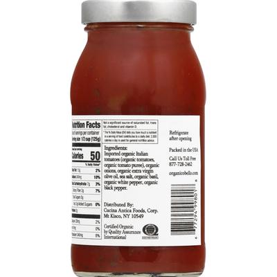 Organico Bello Pasta Sauce, Organic, Tomato Basil
