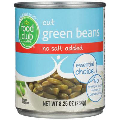 Food Club No Salt Added Cut Green Beans
