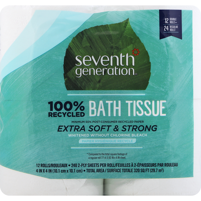 Seventh Generation Bath Tissue, Double Rolls, Extra Soft & Strong, 2-Ply