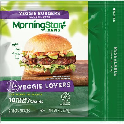 Morning Star Farms Veggie Burgers, Plant Based Protein Vegan Meat, Frozen Meal, Veggie Lovers