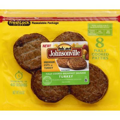 Johnsonville Turkey Breakfast Sausage, Fully Cooked, Original Recipe, Patties