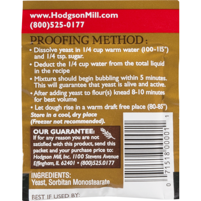 Hodgson Mill Yeast, Active Dry