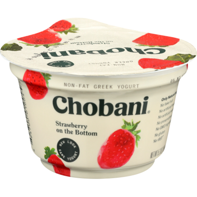 Chobani Yogurt, Greek, Non-Fat, Strawberry on the Bottom