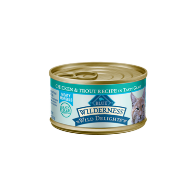 Blue Buffalo Wilderness Wild Delights High Protein Grain Free, Natural Adult Meaty Morsels Wet Cat Food, Chicken & Trout