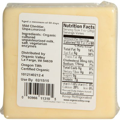 Organic Valley Raw Organic Mild Cheddar Cheese Block