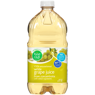 Food Club 100% Unsweetened White Grape Juice From Concentrate With Added Ingredients