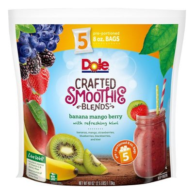 Dole Smoothie Blends, Crafted, Banana Mango Berry