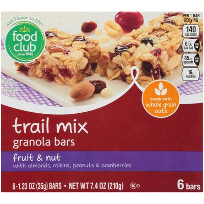 Food Club Fruit & Nut With Almonds, Raisins, Peanuts & Cranberries Trail Mix Granola Bars