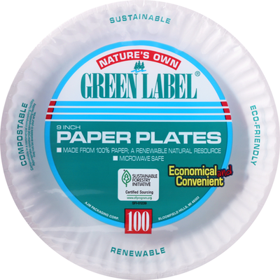Natures Own Green Label Paper Plates, 9 Inch