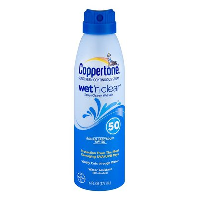 Coppertone Sunscreen Continuous Spray Wet 'n Clear 50 SPF