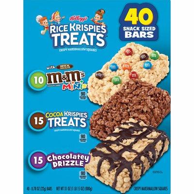 Kellogg's Rice Krispies Treats Marshmallow Snack Bars, Kids Snacks, School Lunch, Variety Pack