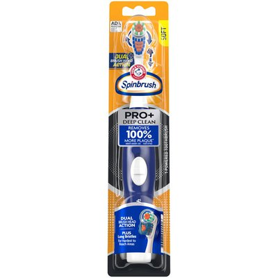 Arm & Hammer Arm & Hammer  Pro+ Deep Clean Battery-Operated Toothbrush –  Battery Powered Toothbrush Removes 100% More Plaque- Soft Bristles -Batteries Included