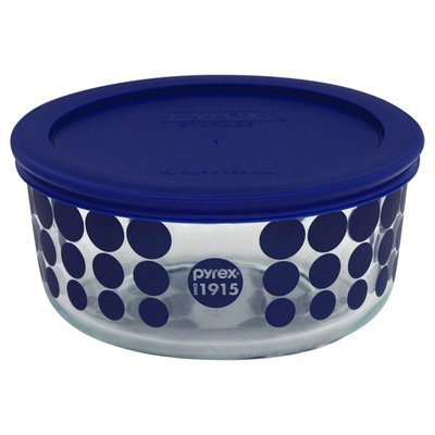 Pyrex Bowl with Lid, Glass, Blue, Not Packed