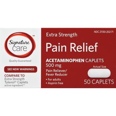 Signature Home Pain Relief, Extra Strength, 500 mg, Caplets