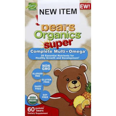 Yummi Bears Vitamins, Complete Multi + Omega, Super, Organic, Gummies.