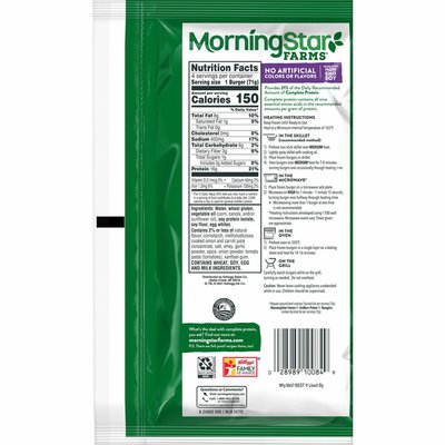 Morning Star Farms Veggie Burgers, Plant Based Protein, Frozen Meal, Grillers Prime