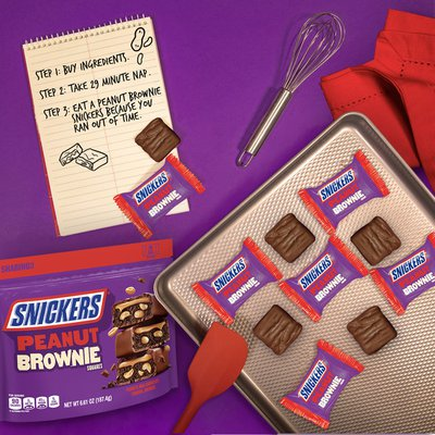 Snickers Peanut Brownie Squares Fun Size Chocolate Candy Bars Sharing Size