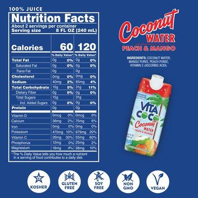 Vita Coco Coconut Water, Peach Mango