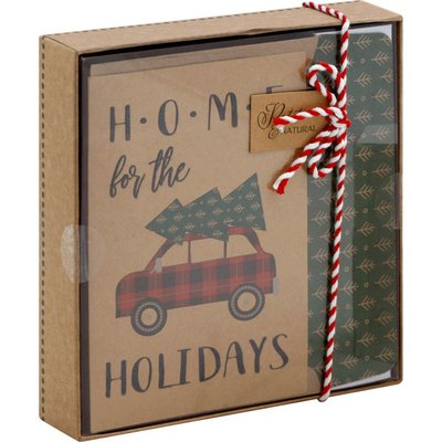 Paper Images Kraft Box Cards, Petite & Natural, with Line Coordinating Envelopes