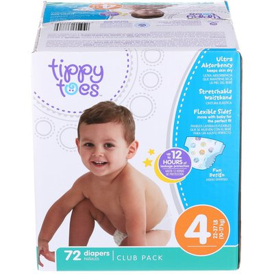 Tippy Toes By TopCare Ultra Club Pack Diapers Size 4