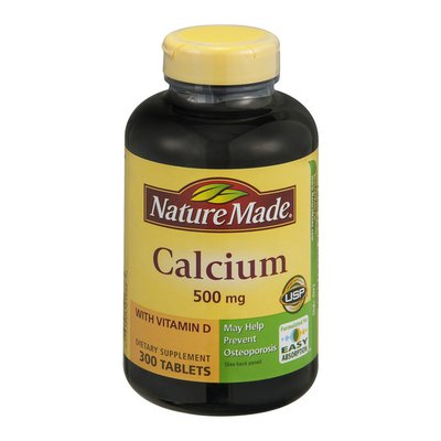 Nature Made Calcium (Carbonate) 500 mg w/D Tablets Value Size