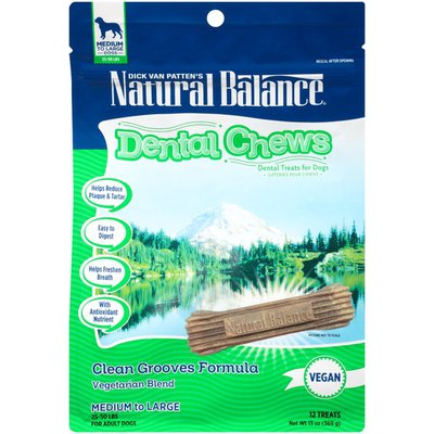 Natural Balance Dental Chews Clean Grooves Formula Vegetarian Blend Medium to Large Dog Treats