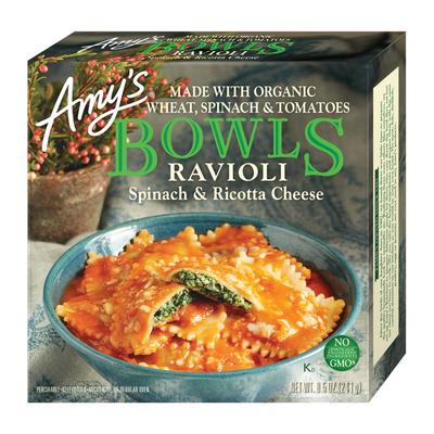 Amy's Frozen Bowls, Spinach & Ricotta Cheese Ravioli, Non-GMO