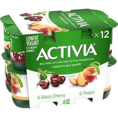 Activia Probiotic Peach & Black Cherry Variety Pack Yogurt