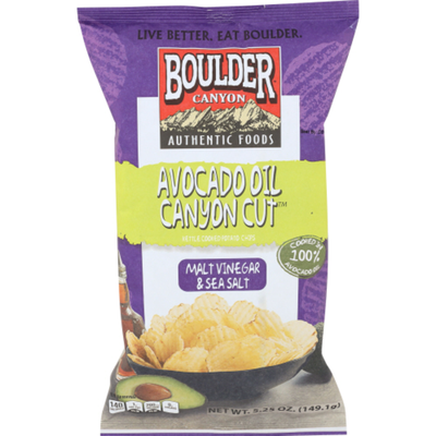 Boulder Canyon Kettle Cooked Potato Chips Avocado Oil Malt Vinegar & Sea Salt