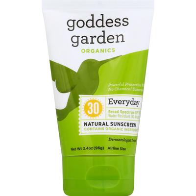 goddess garden Sunscreen, Natural, Everyday, Broad Spectrum SPF 30, Airline Size