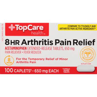 TopCare 8 Hr Arthritis Pain Relief Acetaminophen 650 Mg Pain Reliever / Fever Reducer Extended-Release Capsule-Shaped Tablets