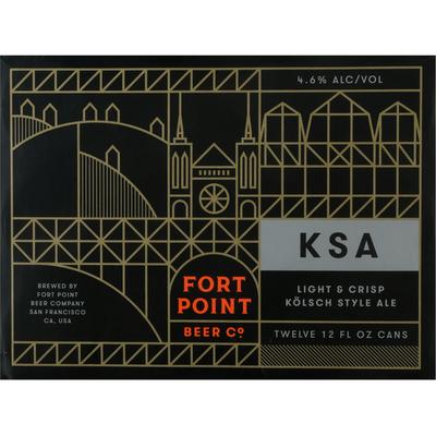 Fort Point Beer Co. Beer, Kolsch Style Ale, Light & Crisp, 12 Pack