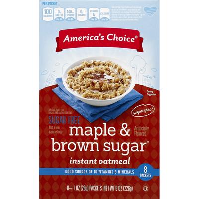 America's Choice Oatmeal, Instant, Sugar Free, Maple & Brown Sugar