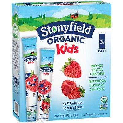 Stonyfield Organic Kids Strawberry & Mixed Berry Lowfat Yogurt Tubes