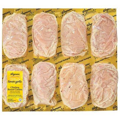 Wegmans Lemon Garlic Marinated Boneless Chicken Breast Cutlets, FAMILY PACK