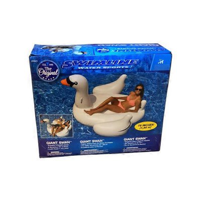 """Swimline Giant Swan 75"""" Inflatable Ride On Pool Toy"""