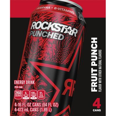 Rockstar Energy Drink, Fruit Punch, 4 Pack
