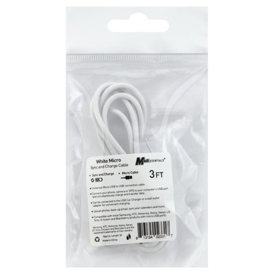 Mobilessentials Cable, Sync and Charge, White, Micro, 3 Feet