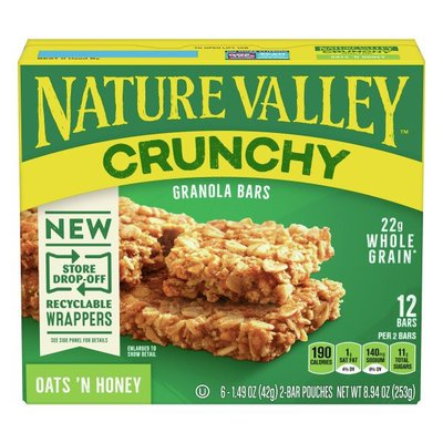 Nature Valley Granola Bars, Oats 'n Honey, Crunchy, 6 Pack
