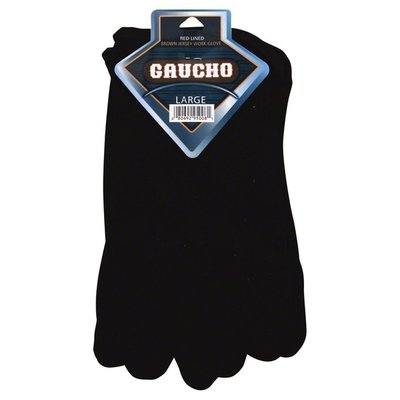 Gaucho Gloves, Work, Brown Jersey, Red Lined