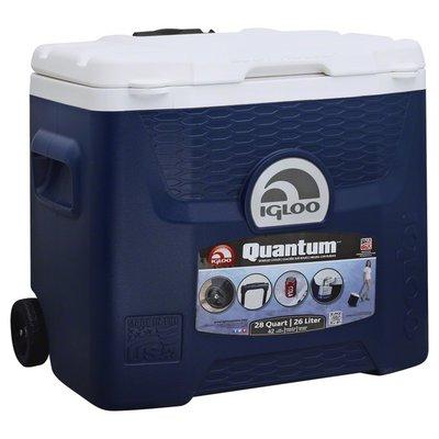 Igloo Cooler, Wheeled, Roller, Blue, 28 Quart