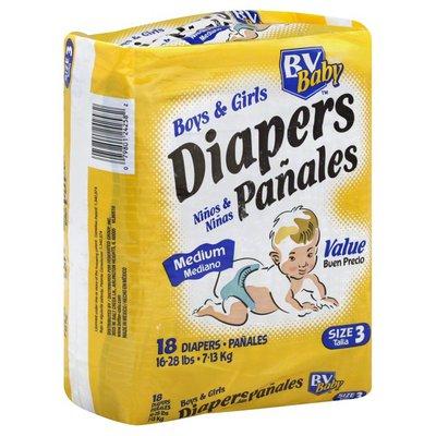 Better Value Diapers, Boys & Girls, Medium, Size 3 (16-28 lb), Value