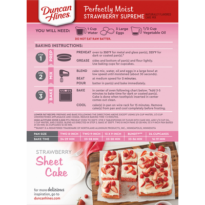 Duncan Hines Cake Mix, Strawberry Supreme, Perfectly Moist